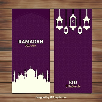 Set of ramadan banners with mosques and lamps in flat style