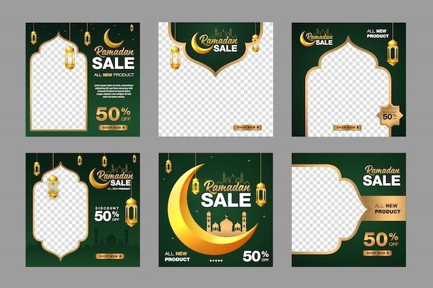 Набор рамадан продажа баннер шаблон. с орнаментом луна, мечеть и фонарь фон. подходит для социальных сетей, instagram и интернет-рекламы. иллюстрация с фото колледжем