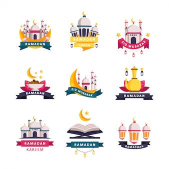 Набор значков рамадан карим и дизайн логотипа