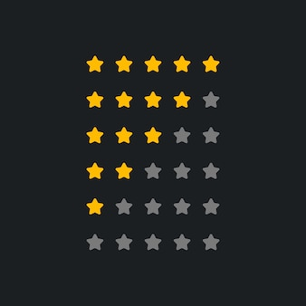 Set of rating symbol for dark theme