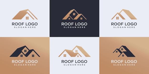 부동산 로고, 지붕 건설 로고, 빌더 로고 디자인 서식 파일 벡터 일러스트 레이 션의 집합