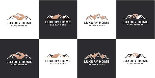 不動産ミニマリストの家のロゴデザインテンプレートのセット