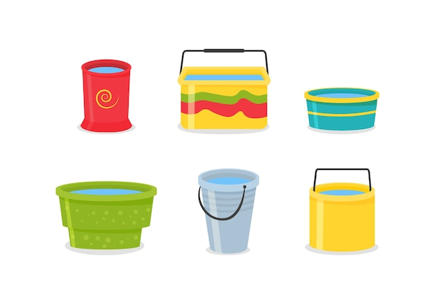 손잡이와 현실적인 3d 컬러 빈 플라스틱 양동이의 집합입니다. 양동이가 비어 있고 물이 채워져 있습니다. 물 pails 배경에 고립입니다.