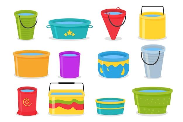 Набор реалистичных 3d цветные пустые пластиковые ведра с ручкой. ведро пустое и заполнено водой. ведерка воды изолированная на предпосылке.