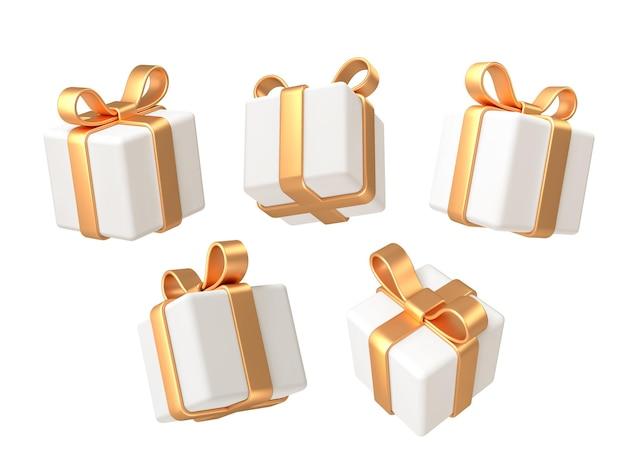 Набор реалистичных 3d-рендеров подарочных коробок с бантом из золотой ленты