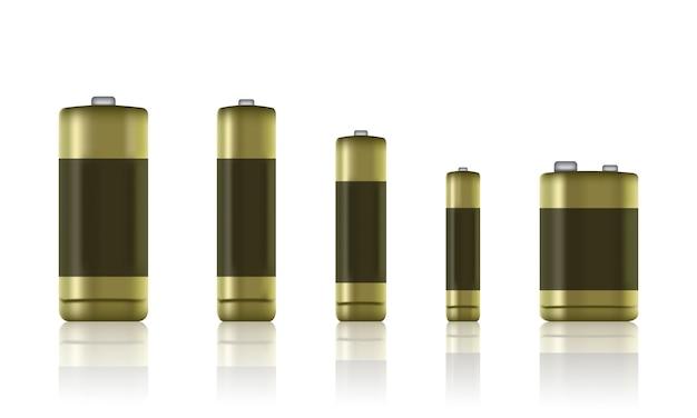 リアルなアルカリ電池のセット。電池のタイプ。サイズ-aa、aaa、pp3バッテリーなど-株式ベクトル。