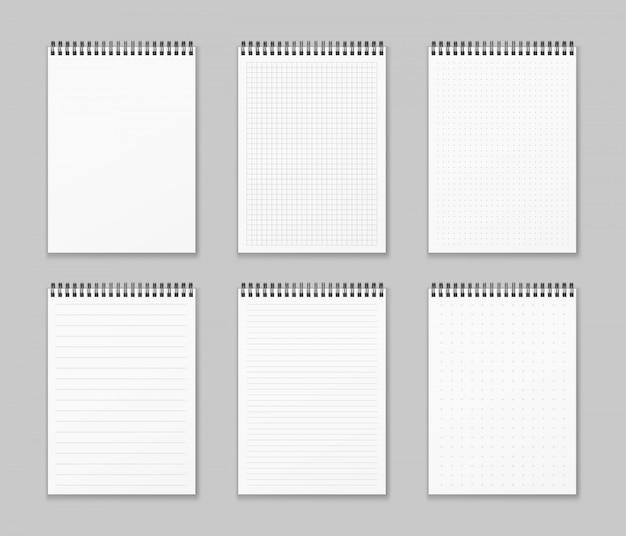 Набор реалистичных и вертикальных спиральных тетрадей. реалистичные блокноты выложены и точки бумаги страница изолированные серый фон