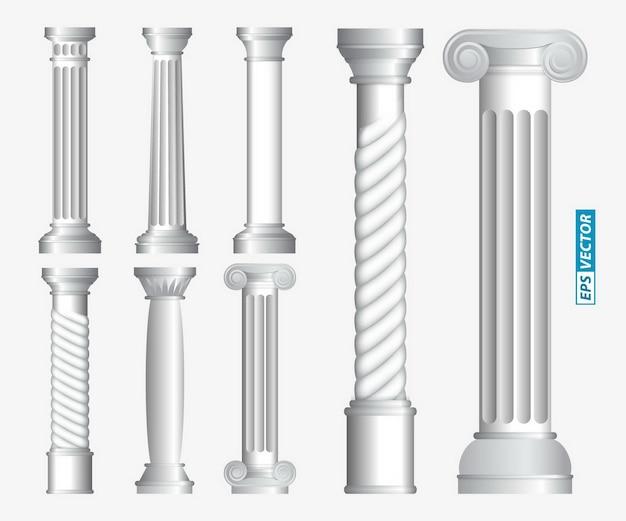 사실적인 골동품 기둥 또는 사실적인 골동품 사원 또는 늑골이 있는 흰색 골동품 기둥 세트