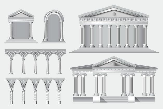 사실적인 골동품 기둥 또는 사실적인 골동품 사원 및 늑골이 있는 흰색 골동품 기둥 세트