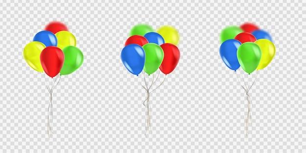 お祝いや透明な背景の装飾のための現実的な風船のセット。お誕生日おめでとう、記念日、結婚式のコンセプトです。