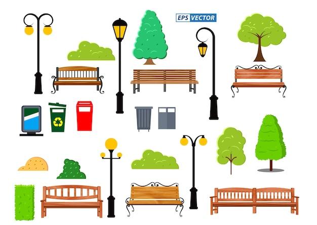 Набор реалистичных скамейки из дерева сад или уличная скамейка сиденье или скамейка мультфильм вектор