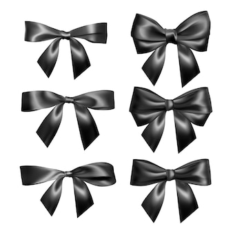 リアルな黒の弓のセット。装飾ギフト、挨拶、休日、バレンタインデーの要素。