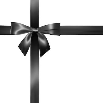 黒のリボンとリアルな黒の弓のセット。装飾ギフト、挨拶、休日、バレンタインデーの要素。