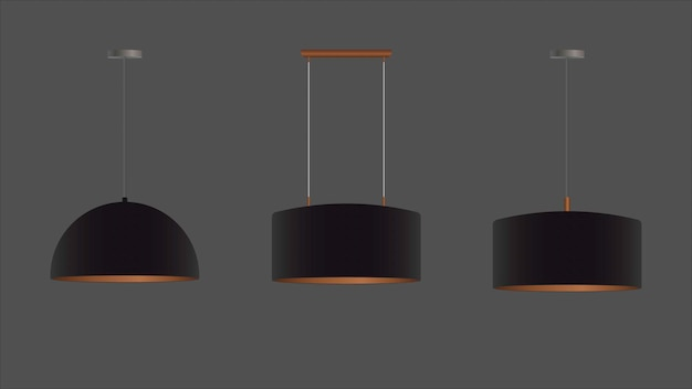リアルな黒のシャンデリアのセット。天井ランプ。ロフトスタイル。インテリアデザインの要素。