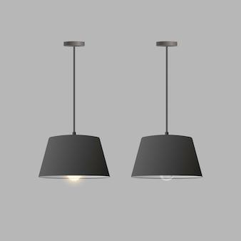 リアルな黒のシャンデリアのセット。天井ランプ。