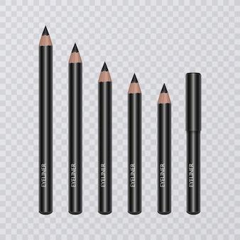 Набор реалистичных черных карандашей для подводки глаз