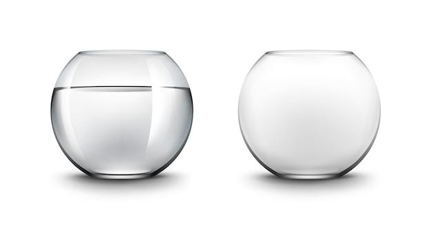 現実的な黒い透明な滑らかな光沢のあるガラスfishbowlsアクアリウムのセット