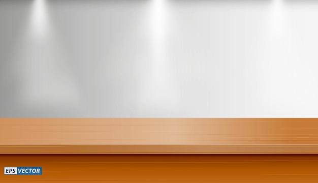 壁の背景とモックアップまたはダウンライトまたはモックアップと空白の机の現実的な空白のテーブルのセット