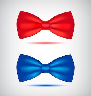 リアルな青と赤の蝶ネクタイのセット