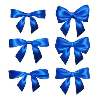 リアルな青い弓のセット。装飾ギフト、挨拶、休日、バレンタインデーの要素。