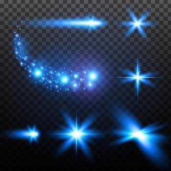 リアルな青い光のまぶしさのセットは、クリスマスと新年のカードのキラキラ輝く星を輝かせます