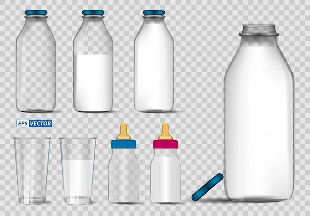 ガラスのモックアップテンプレートまたはさまざまなフレーバーの現実的なボトルミルク分離または新鮮なミルクのセット