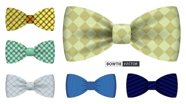 オフィスのユニフォームやさまざまな蝶ネクタイの色の服に適したリアルな蝶ネクタイまたは蝶ネクタイの男性のセット
