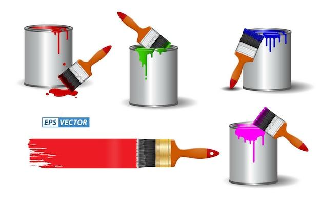 다양한 색상 페인팅에서 사실적인 브러시 효과가 있는 현실적인 브러시 페인트 또는 페인트 캔 세트