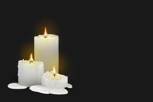 검정색 배경에 현실적인 불타는 흰색 촛불 세트. 녹는 왁스, 불꽃, 빛의 후광이 있는 3d 양초. 메쉬 그라디언트와 벡터 일러스트 레이 션. eps10.