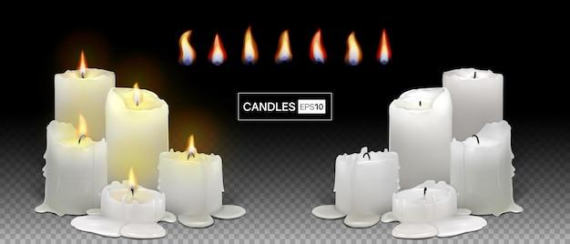 투명 한 배경에 현실적인 불타는 흰색 촛불의 집합입니다. 녹는 왁스, 불꽃, 빛의 후광이 있는 3d 양초. 메쉬 그라디언트와 벡터 일러스트 레이 션. eps10.
