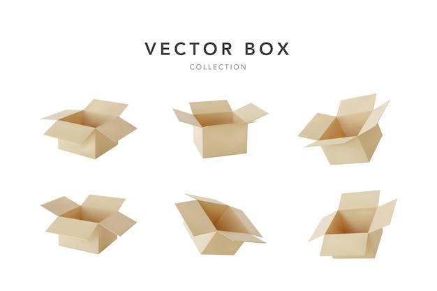 Набор реалистичных картонных коричневых коробок для доставки Premium векторы