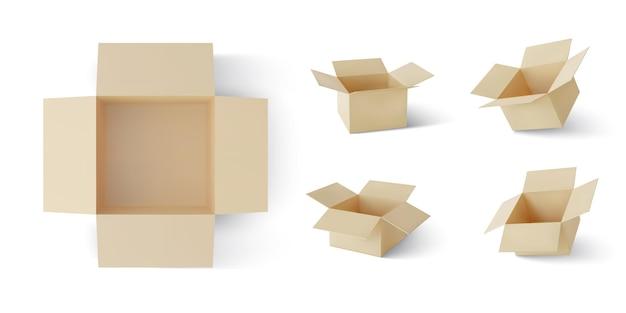 Набор реалистичных картонных коричневых коробок для доставки