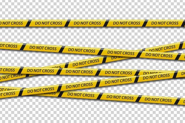装飾と透明な背景を覆うための記号をクロスしないで現実的な注意テープのセット。バリケード、危険、犯罪シーンのコンセプトです。