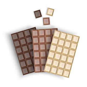 Набор реалистичной упаковки шоколадных батончиков, изолированных, молочного, белого и черного шоколада