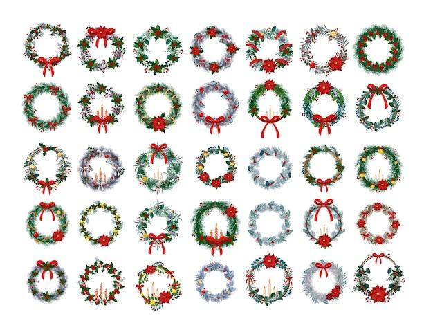 Набор реалистичных рождественских венков для украшения.