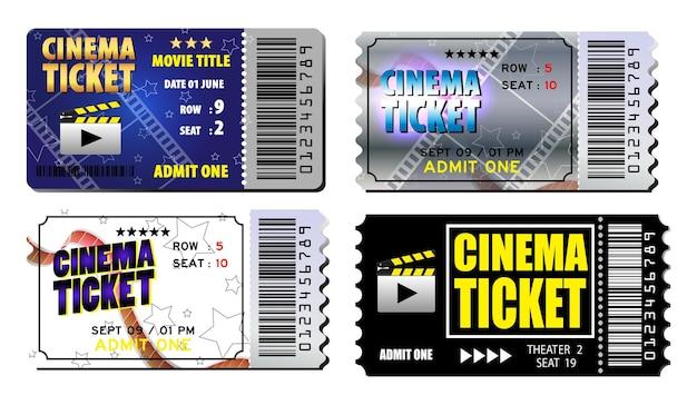 다양 한 색상 eps 벡터에 고립 된 현실적인 영화 티켓 세트