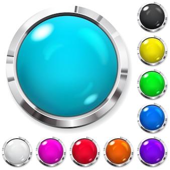 金属の縁取りが付いたリアルな色のボタンのセット