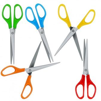Набор реалистичные красочные ножницы с пластиковыми ручками, изолированные на белом фоне, открытые и закрытые. клип арт