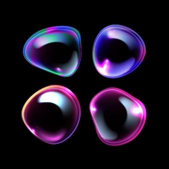 현실적인 다채로운 비누 또는 샴푸 세트 무지개 반사와 다른 형태의 거품