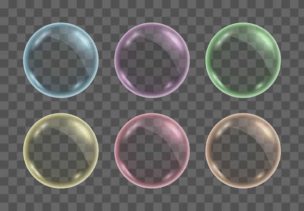 Набор реалистичных красочных прозрачных мыльных пузырей, шаров или сфер.