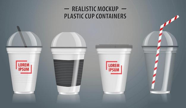 일회용 컵에 투명한 플라스틱이 있는 현실적인 컬러풀 컵 용기 세트