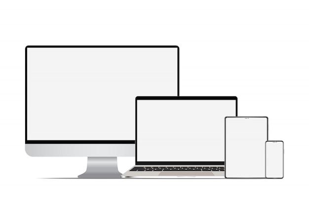 현실적인 컴퓨터 노트북 태블릿 및 스마트 폰 설정합니다.