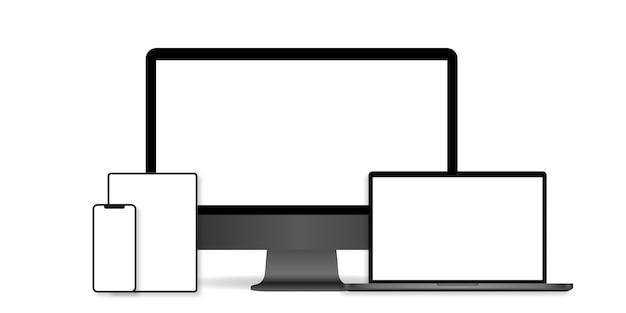 현실적인 컴퓨터 모니터, 노트북, 태블릿 및 휴대 전화의 집합입니다.