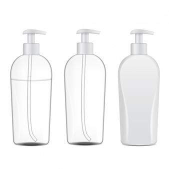 現実的な化粧品ボトルのセット。チューブまたはクリーム、軟膏、ローション、白い背景の上のシャンプーのコンテナー