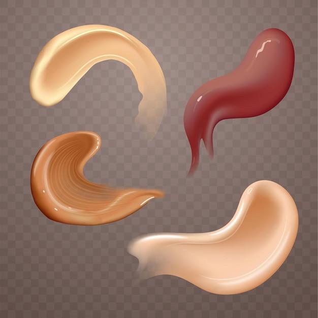 Набор реалистичных косметических кремовых мазков по уходу за кожей разного цвета тела