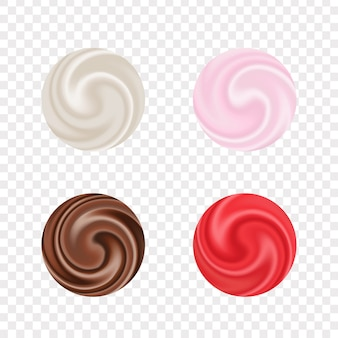 Набор реалистичного кремового эффекта на прозрачном фоне для украшения и покрытия. коллекция сливочных завихрений молока или косметической жидкой текстуры.