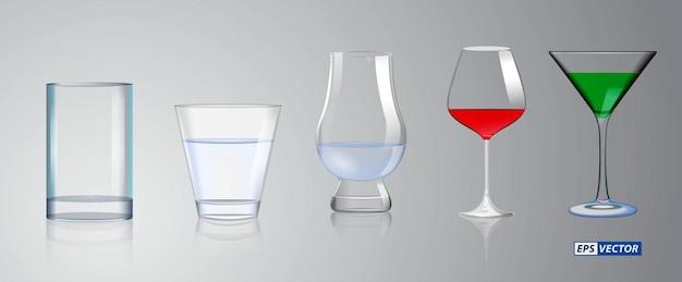 현실적인 크리스탈 유리 또는 투명한 마시는 유리 컵 또는 알코올 음료 빈 유리 세트
