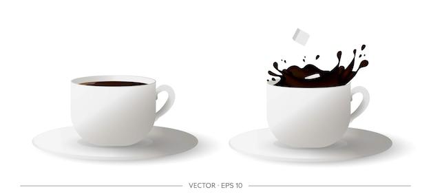 リアルな一杯のコーヒーのセット。一杯のコーヒーに落ちる角砂糖。