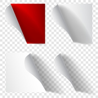 Набор реалистичных скрученных бумажных уголков белого и красного цветов с тенями