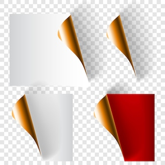 影付きの白、赤、金色のリアルなカールした紙のコーナーのセット